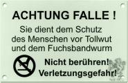 "Warnschild ""Achtung Falle!"""